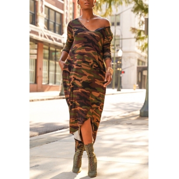 Lovely Casual Asymmetrical Camouflage Printed Army Green Ankle Length Dress