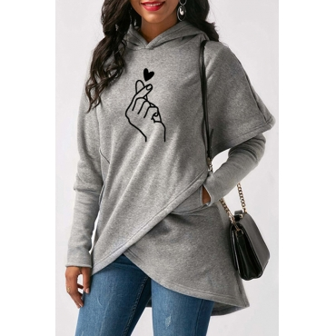 Lovely Casual Hooded Collar Cross-over Design Grey Hoodie