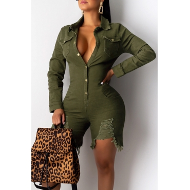 Lovely Casual Raw Edge Army Green One-piece Romper