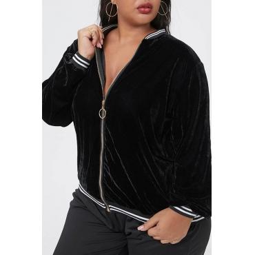 Lovely Casual Mandarin Collar Black Plus Size Jacket