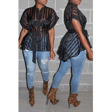 Lovely Sweet Striped Black Blouse