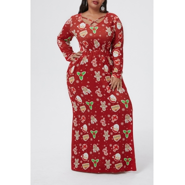 Lovely Casual V Neck Printed Red Floor Plus Size Dress