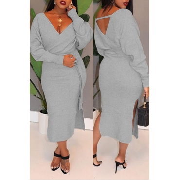 Lovely Casual Hollowed-out Grey Mid Calf Dress
