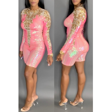 Lovely Casual Sequined Pink One-piece Romper