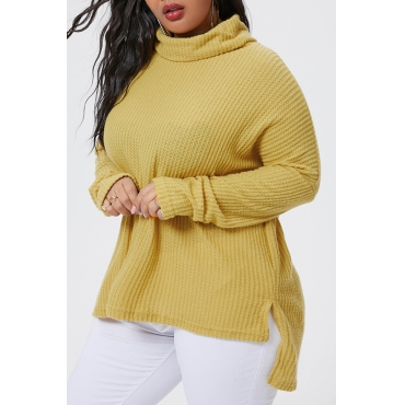 Lovely Casual Turtleneck Yellow Plus Size Sweater