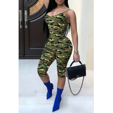 Lovely Trendy Camouflage Printed Green One-piece Jumpsuit