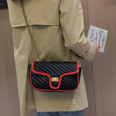 Lovely Trendy Patchwork Black Messenger Bag