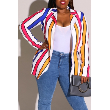 Lovely Work Striped Multicolor Plus Size Coat