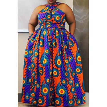Lovely Casual Printed Blue Floor Length Plus Size Dress