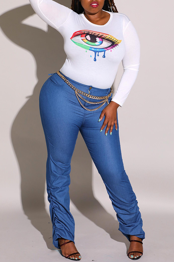 Lovely Casual Eye Printed White Plus Size T-shirt