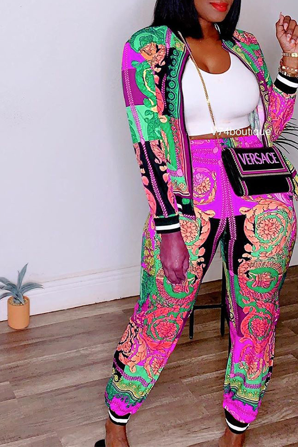 Lovely Leisure Printed Rose Red Two-piece Pants Set
