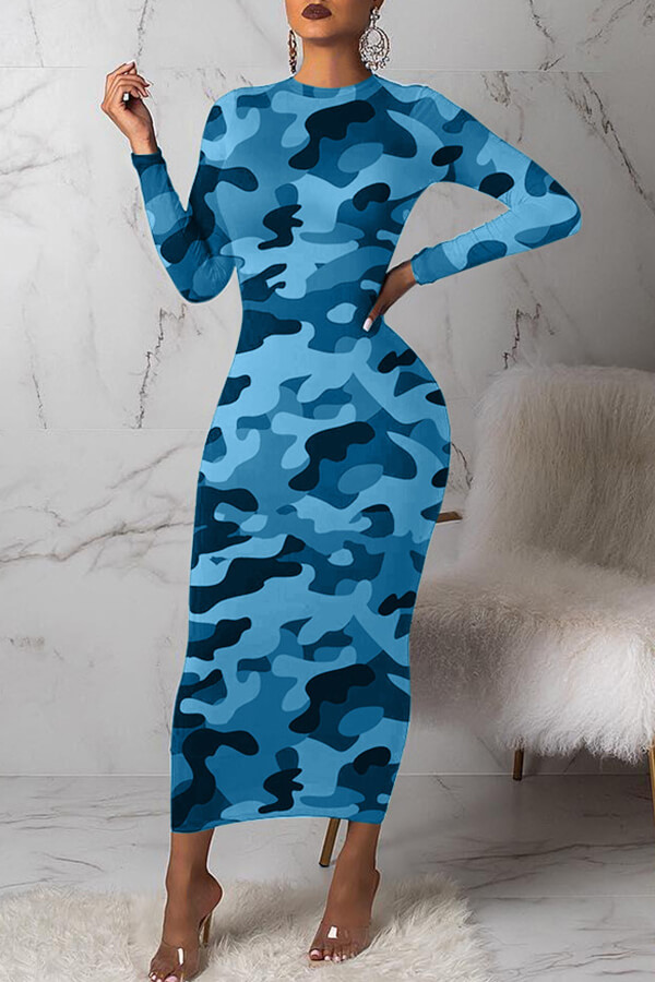 Lovely Casual Camouflage Printed Blue Mid Calf Dress