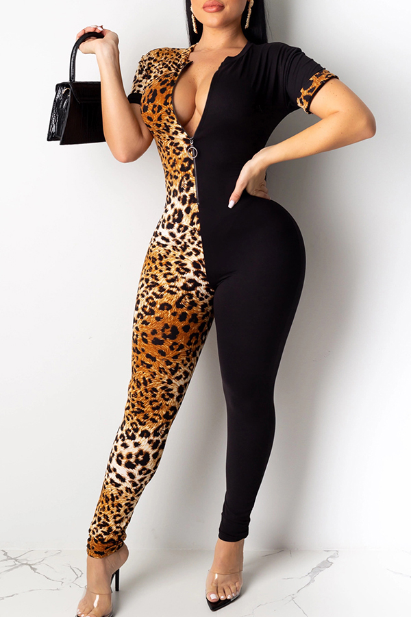 Lovely Casual Patchwork Leopard Printed One-piece Jumpsuit