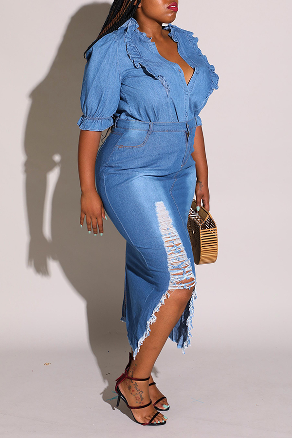 Lovely Trendy Broken Holes Blue Plus Size Skirt