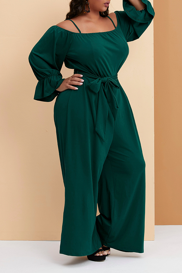Lovely Trendy Loose Green Plus Size One-piece Jumpsuit