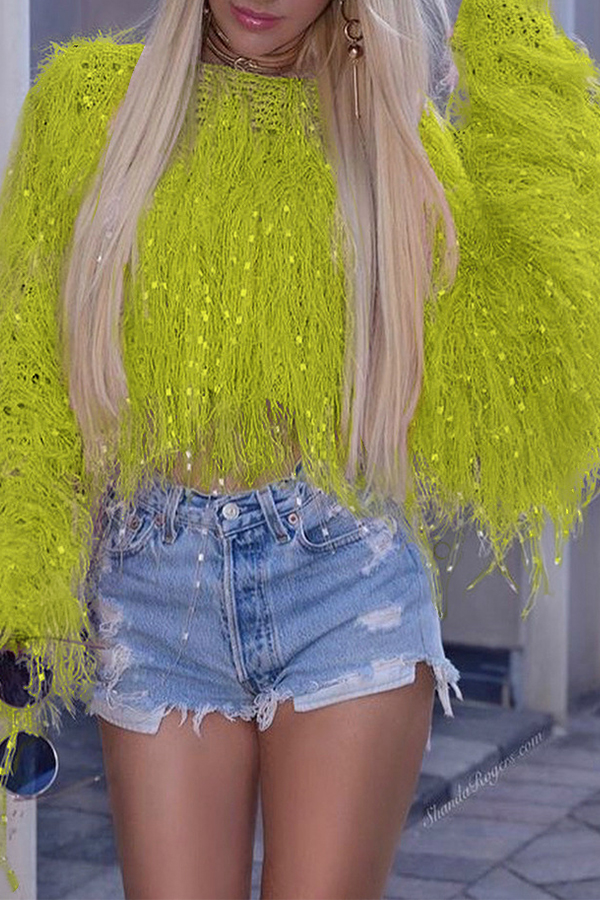 Lovely Trendy Tassel Design Olive Yellow Sweater