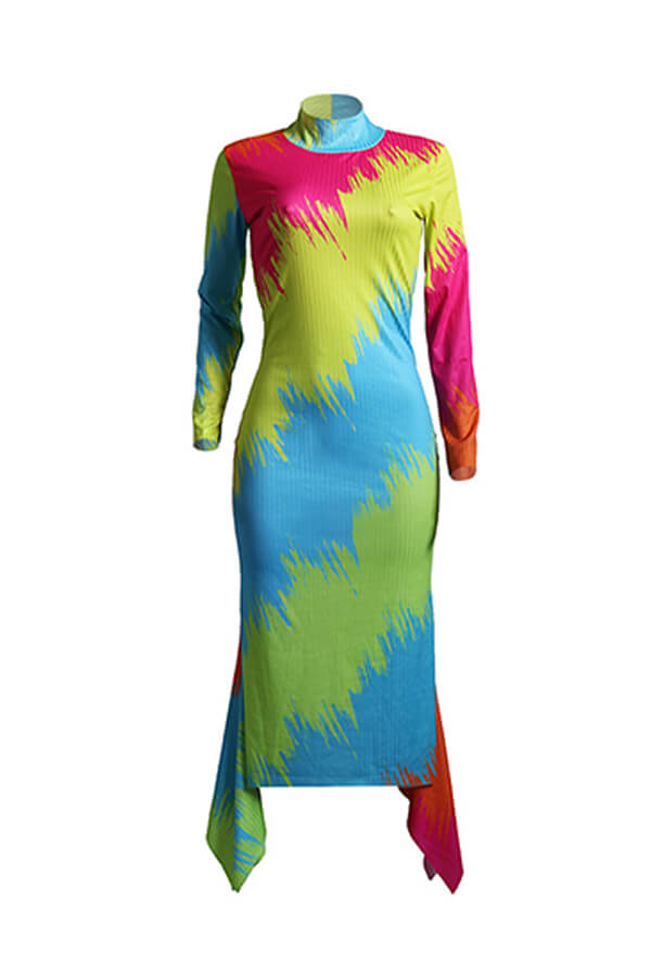 Lovely Casual Gradual Chang Printed Multicolor Ankle Length Dress