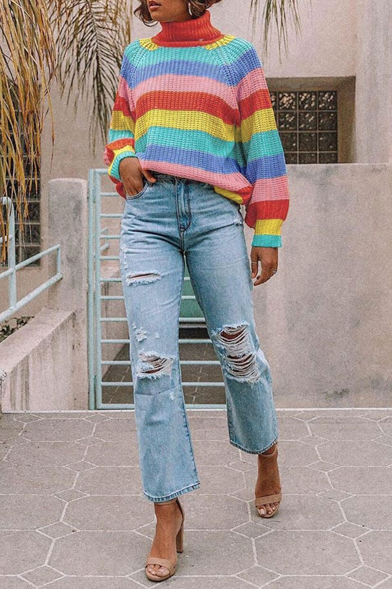 Lovely Rainbow Striped Multicolor Sweater