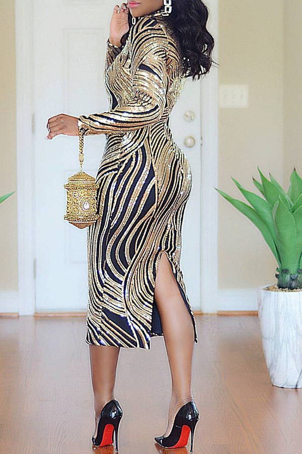 Lovely Casual Turtleneck Printed Gold Knee Length Dress