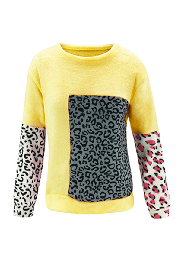 Lovely Casual Patchwork Yellow Sweater