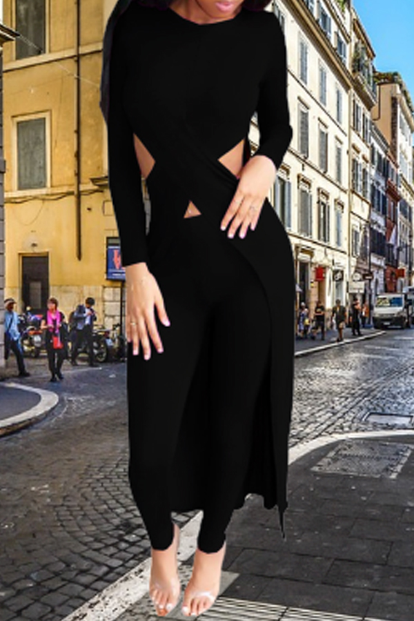 Lovely Casual Asymmetrical Black Two-piece Pants Set
