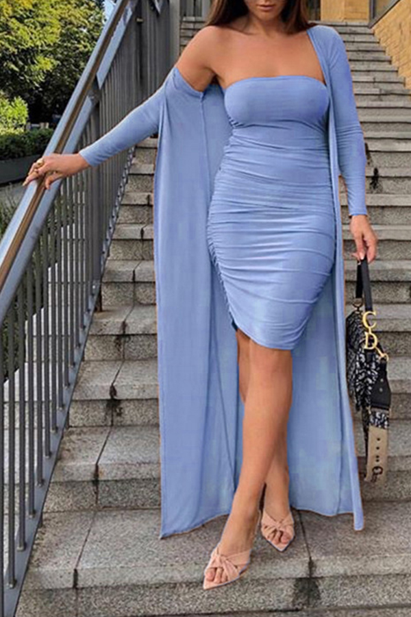 Lovely Casual Ruffle Design Sky Blue Two-piece Skirt Set