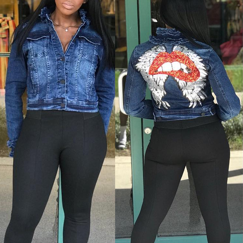 Lovely Casual Lip Printed Deep Blue Jacket