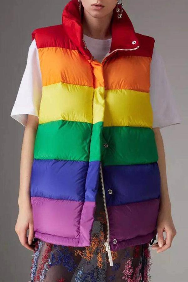 Lovely Casual Turndown Collar Striped Multicolor Vest