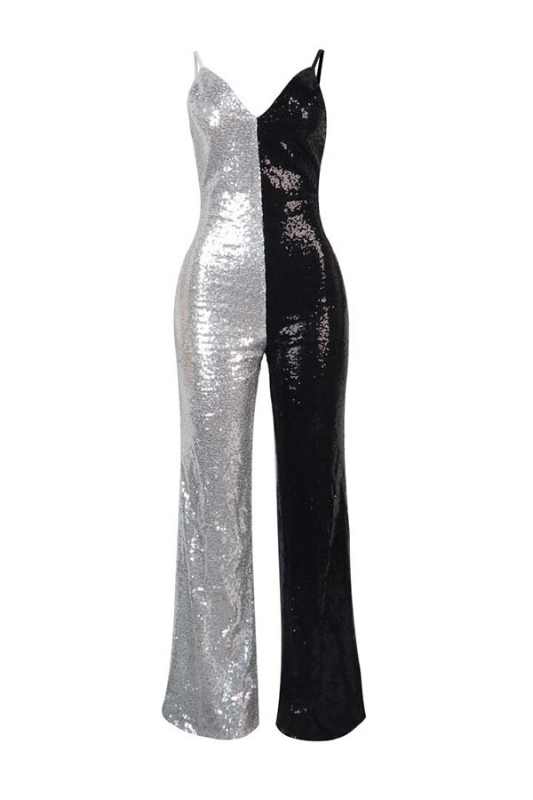 Lovely Sexy Patchwork Black And White One-piece Jumpsuit