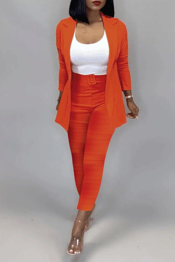 Lovely Work Basic Orange Two-piece Pants Set(Without T-shirt)