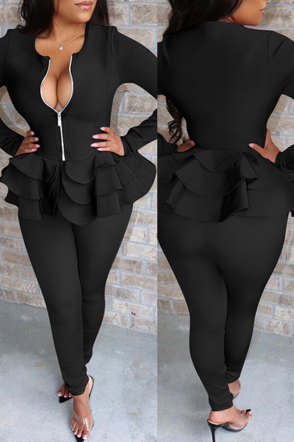Lovely Casual Flounce Design Black Two-piece Pants Set