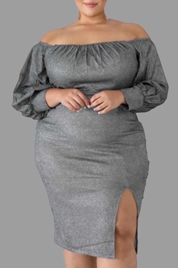 Lovely Casual Slit Grey Knee Length Plus Size Dress