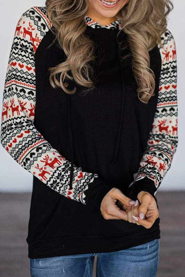 Lovely Christmas Day Hooded Collar Patchwork Black Hoodie