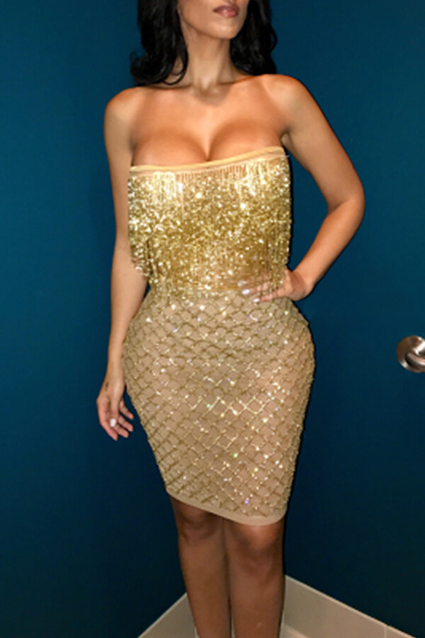 Lovely Party Sleeveless Gold Knee Length Evening Dress Y