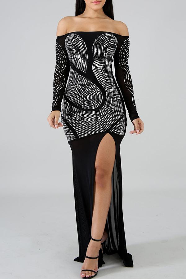 Lovely Trendy Asymmetrical Black Floor Length Dress
