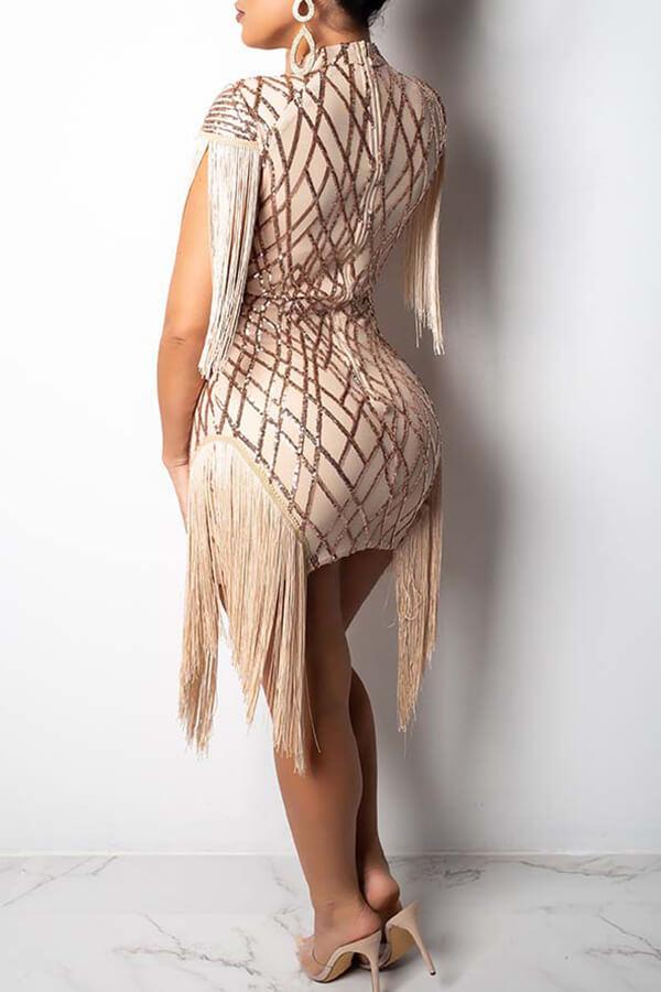 Lovely Chic Tassel Design Apricot Mini Dress
