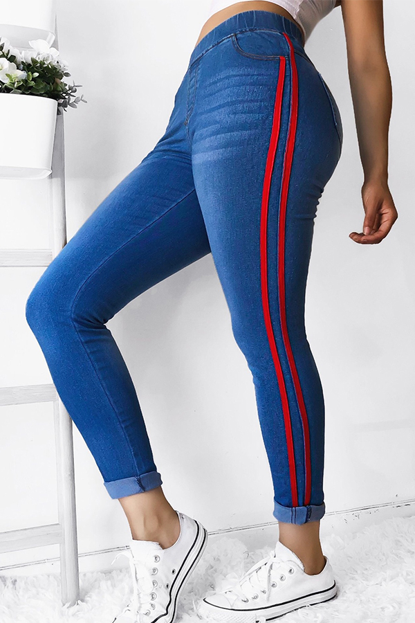 Lovely Casual Patchwork Red Jeans