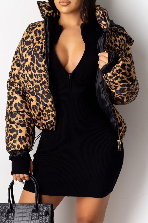 Lovely Winter Hooded Collar Leopard Printed Coat