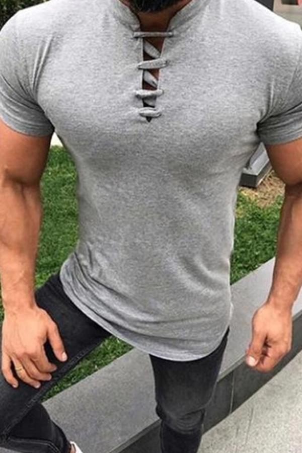 Lovely Casual Light Grey T-shirt