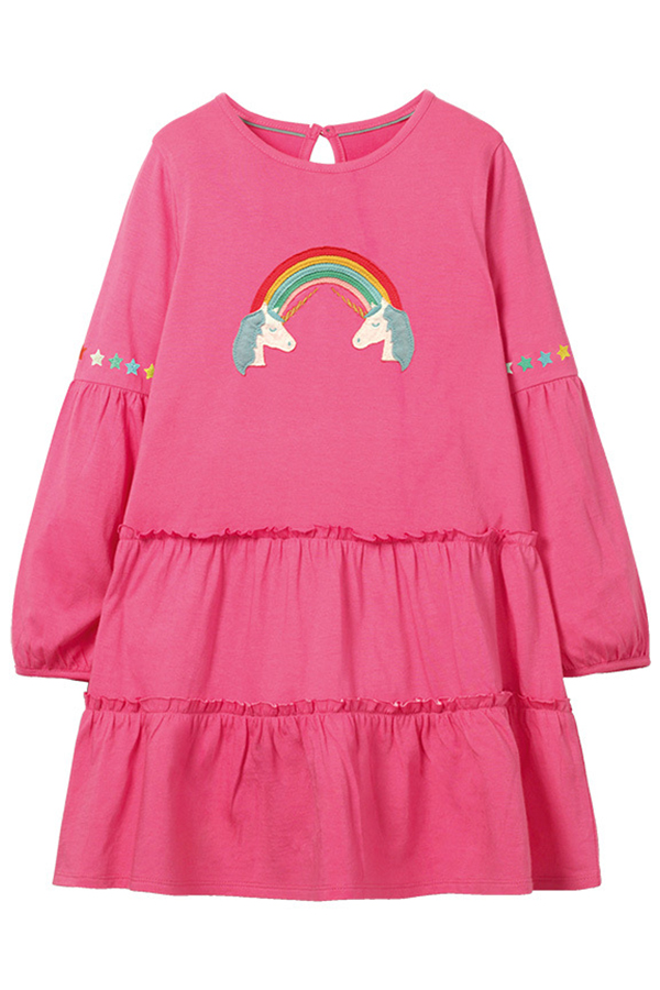 Lovely Christmas Day Pink Knee Length Girls Dress
