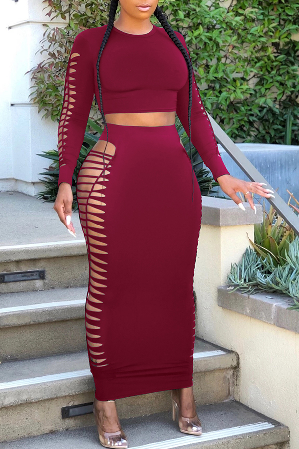 Lovely Sexy Hollow-out Wine Red Two-piece Skirt Set