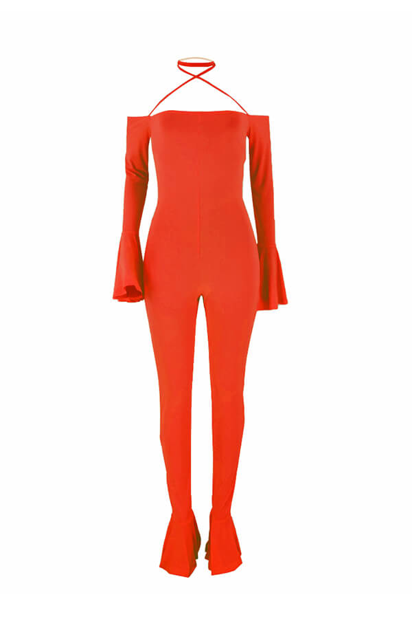 Lovely Sexy Backless Orange One-piece Jumpsuit(Without Accessory)