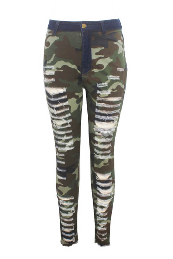 Lovely Casual Broken Holes Camouflage Printed Jeans