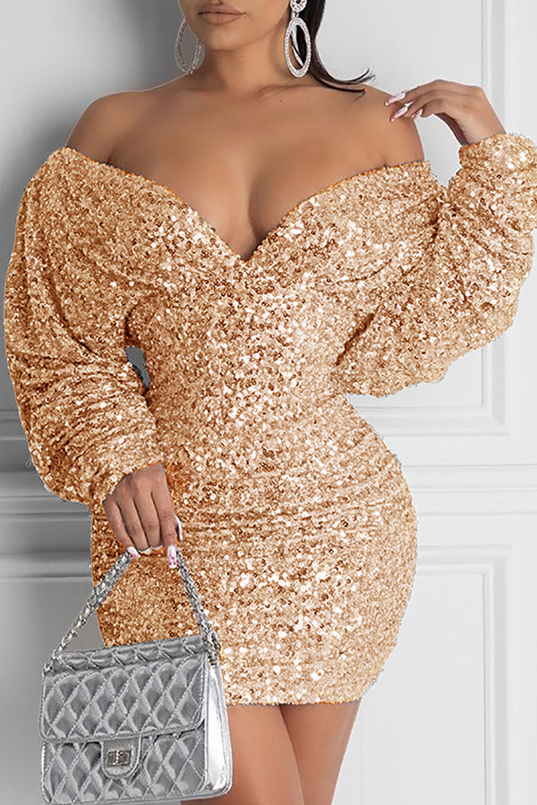 Lovely Casual Deep V Neck Gold Mini Dress