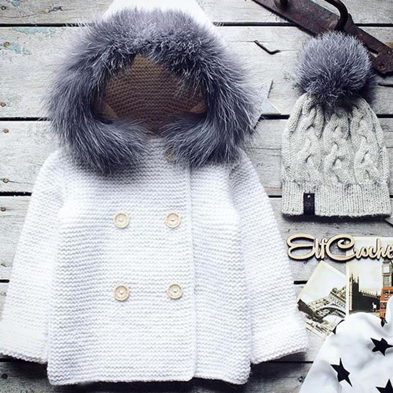 Lovely Sweet Hooded Collar White Girls Cardigan