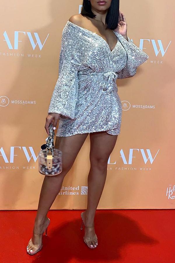 Lovely Trendy Deep V Neck Silver Mini Dress