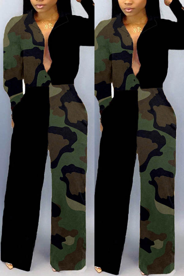 Lovely Trendy Patchwork Camouflage Printed Army Green One-piece Jumpsuit