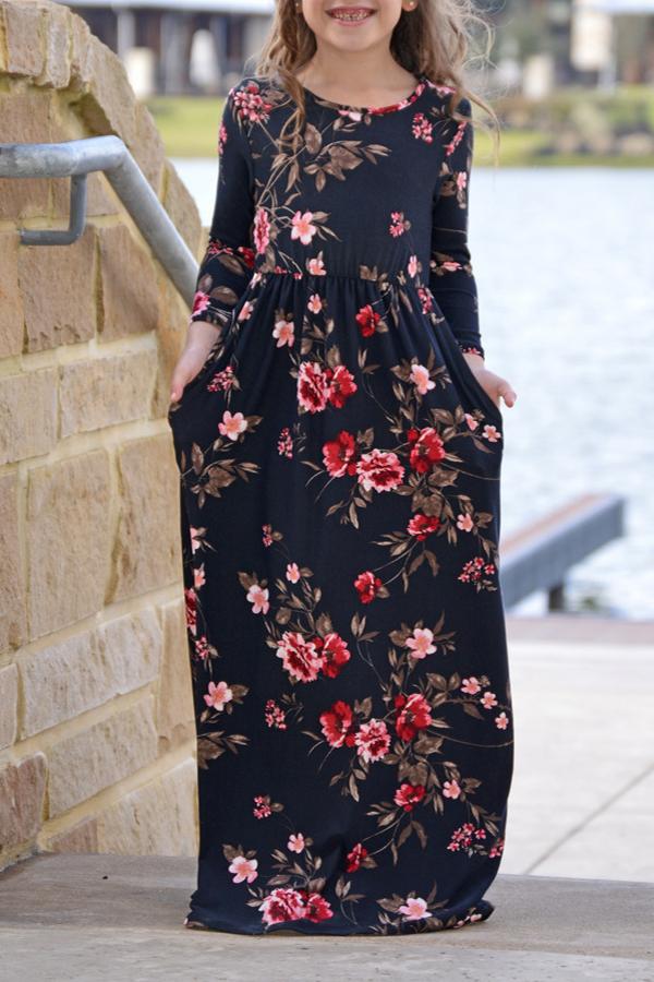 Lovely Bohemian Printed Black Girls Ankle Length Dress