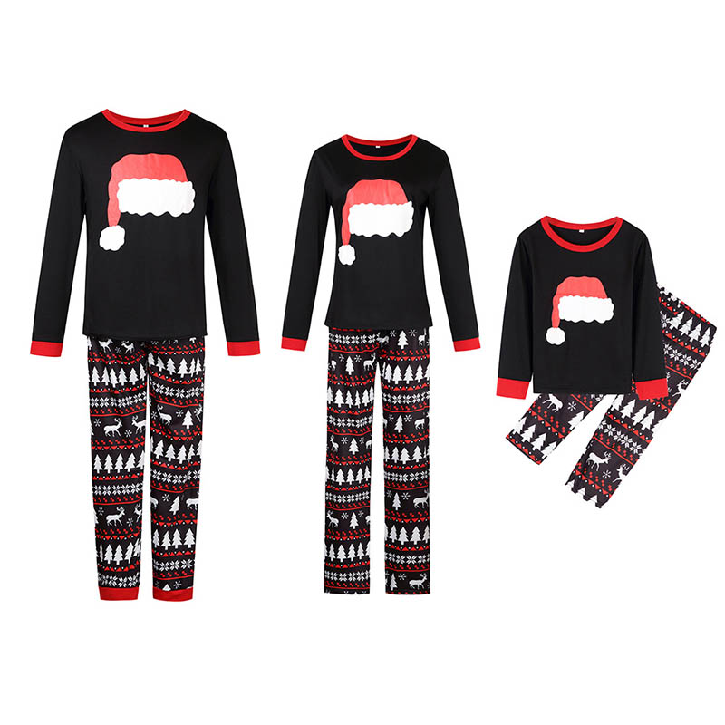 Lovely Family Printed Black Two-piece Pants Set