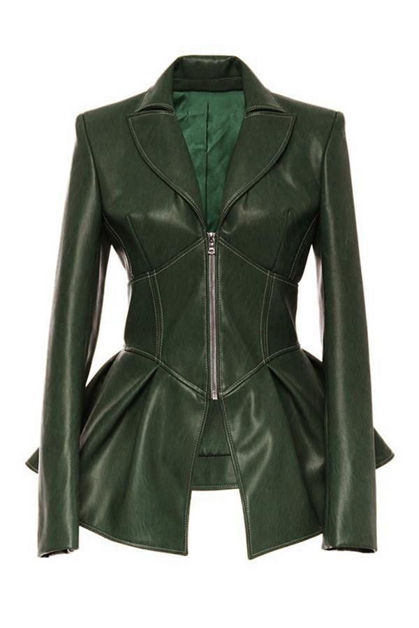Lovely Casual Flounce Green Coat